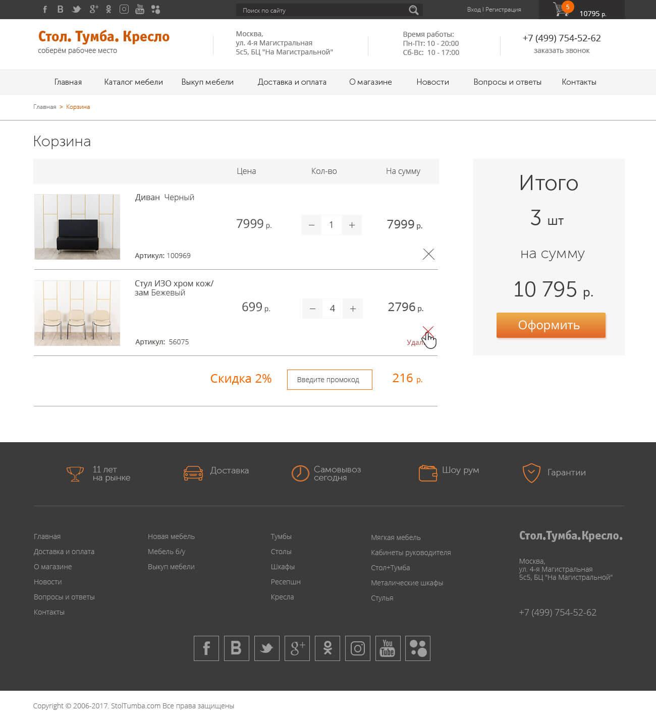 Заказать интернет-магазин по продаже мебели, фурнитуры и дверей
